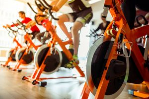 rows of stationary bikes