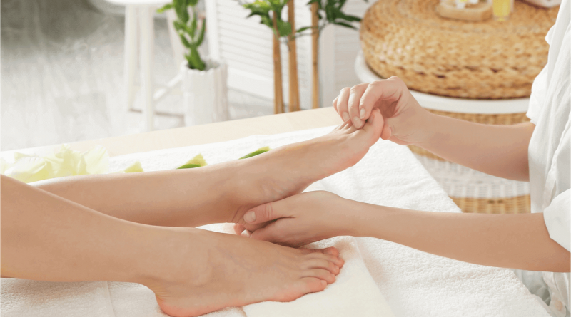 close up foot reflexology
