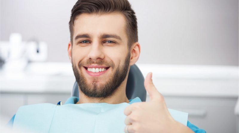 The man approves dental cleaning treatment.